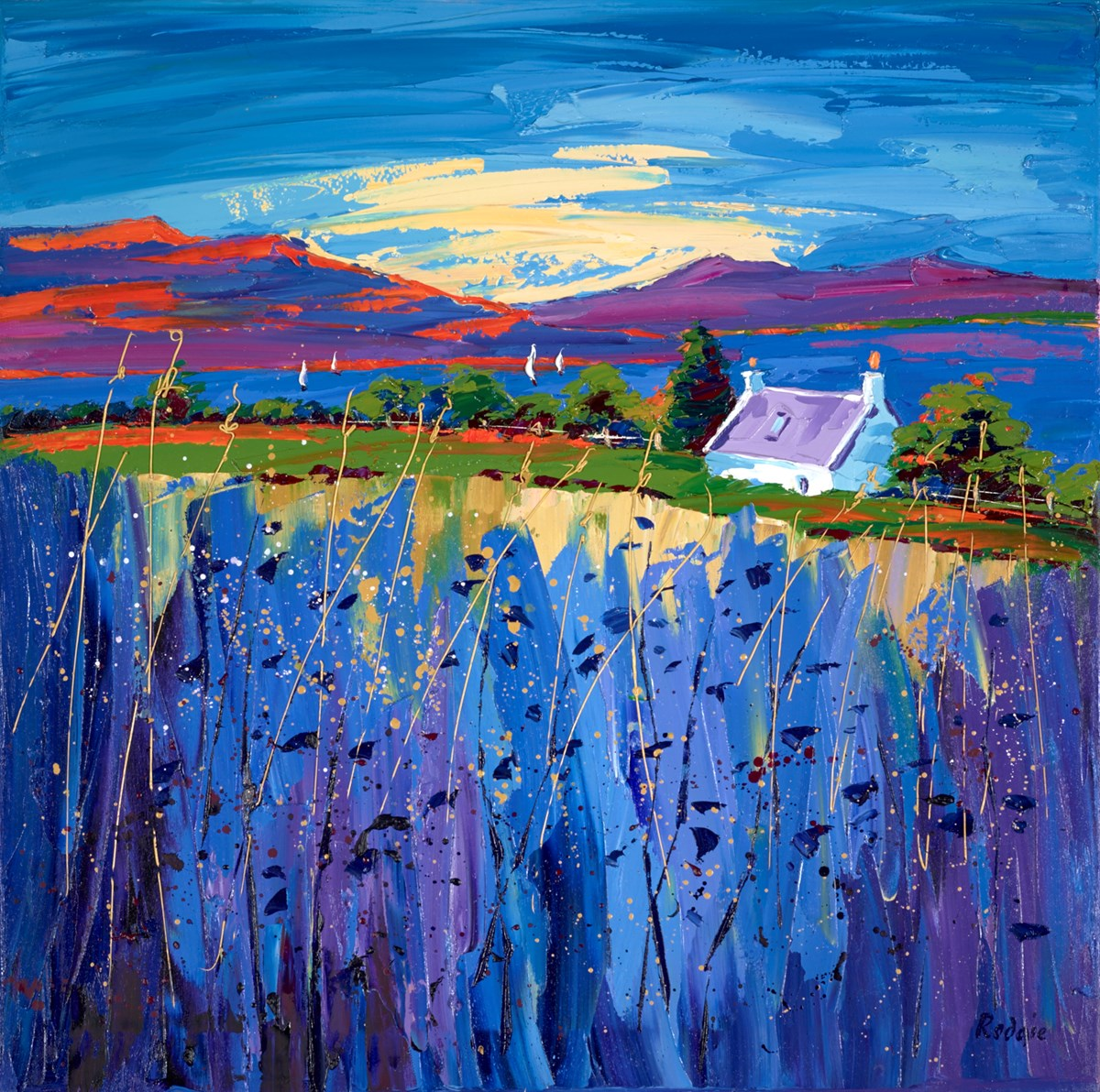 Bluebell Hilltop by lynn rodgie -  sized 27x27 inches. Available from Whitewall Galleries